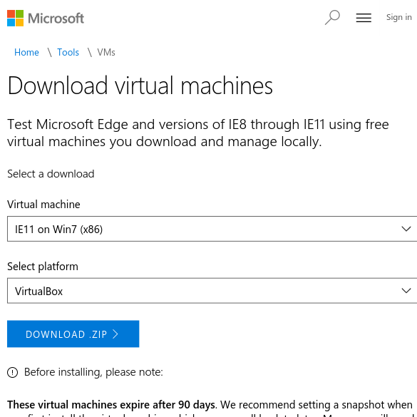 Free Virtual Machines from IE8 to MS Edge - Microsoft Edge Development